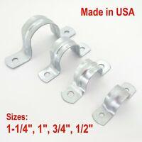 "Galvanized Rigid 2 Hole Conduit Strap Clamp Hanger 1/2"" 3/4"" 1"" 1-1/4"""