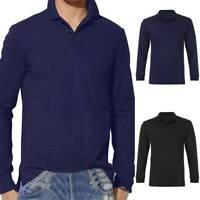 Mens Polo Plain Shirts Long Sleeve T Shirt Loose Holiday Work Casual V-Neck Tee