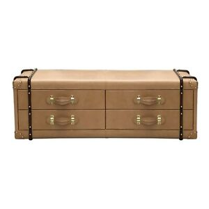 Camel Color Leather Luxury Look Drawer Coffee Table Home Decor
