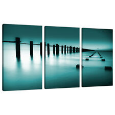 Three Picture Teal Green Blue Canvas Art Bedroom Wall Prints Set 3089