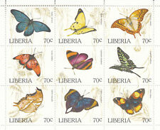 Liberia # 1204 MNH Complete Sheet Butterfly Insect CV $18!