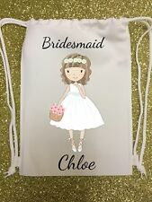 PERSONALISED - bridesmaid - WEDDING GIFT BAG - drawstring flowers pretty