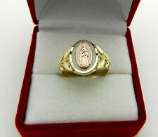 Solid 14K  Multi-color Gold Religious Virgin Mary Guadalupe   Ring size 7