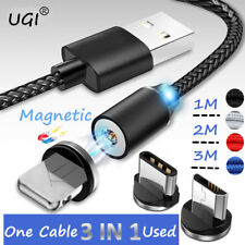 1~3M 360° Strong Magnetic Charging Cable For iPhone Sumsung 2A Fast Charger Lot