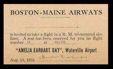 Amelia Earhart Flight Ticket Reprint On 80 Year Old Paper Waterville Airport 008