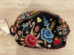 Johnny Was MARIS Velveteen Make Up Black Bag Cosmetic Case Clutch Pouch New