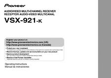 Pioneer VSX-921-K Receiver Owners Manual