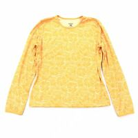 Patagonia Capilene Floral Print Size MEDIUM Womens Yellow Long Sleeve M EUC