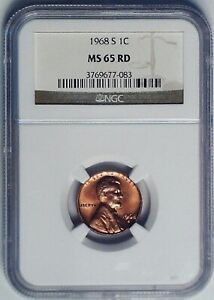 1968-S Lincoln Memorial Reverse Penny 1 Cent NGC MS65RD Graded Coin