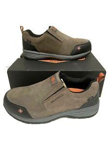 Merrell Mens Windoc Moc Safety Shoes Size 13 STEEL TOE Work Slip On Waterproof