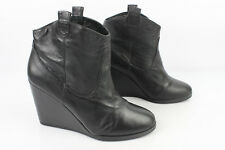 Boots Wedge Heels NAFNAF Black Leather T 40 VERY GOOD CONDITION