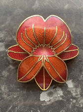 Flower Brooch Macintosh Style Bnwt Gold Plated Red
