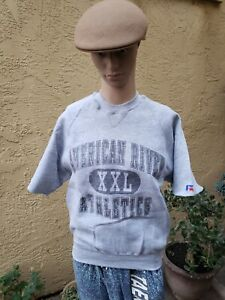 VTG 90'S ARC AMERICAN RIVER COLLEGE CUTOFF RUSSELL SWEATER SHIRT USA MEN M