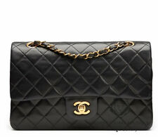 "Chanel 10"" 2.55 Black Lambskin Leather Double flap Shoulder Bag GHW  HB316"