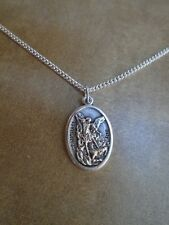 """St Michael the Archangel Medal ITALY 925 Sterling Silver Fill Chain Necklace 24"""""""
