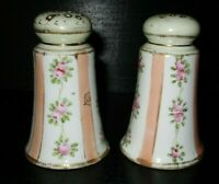 VINTAGE NIPPON PORCELAIN HAND PAINTED ROSES SALT & PEPPER SHAKERS