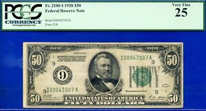 FR-2100-I - 1928 $50 FRN (( Rare - Minneapolis )) PCGS Very-Fine 25 # I0047307A-