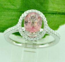 1.80 ct 14k White Gold Oval Natural Pink Tourmaline & Diamond Ring