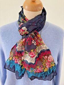 Accessorize Silk Scarf Blue Multicoloured Floral  Print