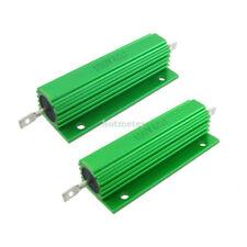 2 Pcs Green Aluminum Housed Wirewound Resistors 100 Watt 6 Ohm 5% 83 x 21x15.5mm
