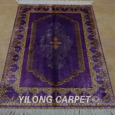 YILONG 2.7'x4' Handknotted Silk Purple Area Rugs Home Decor Indoor Carpet 0515