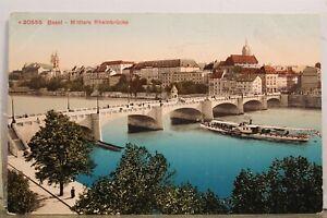 Switzerland Basel Mittlere Rheinbrucke Rhein Bridge Postcard Old Vintage Card PC