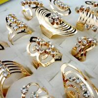 30pcs Gold Style Alloy Rhinestone Rings Lots Mix Wholesale Jewelry