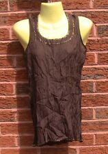 Ladies Sequined Brown Crinkle Silk Vest Top, Size S, BNWT