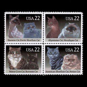 Cats Felines Pets Se-tenant Blockof 4 Stamps MNH 1988 USA #2375a