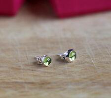 925 Sterling silver stud earrings with natural Peridot gemstones