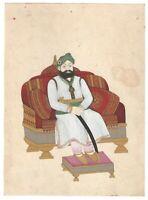 Miniatur Malerei Wasserfarbe Alt Papier Dekorative Kunstwerk - König Von Jodhpur