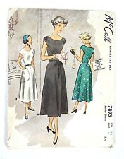 McCall Pattern Misses Juniors Dress #7893 Printed in 1940's