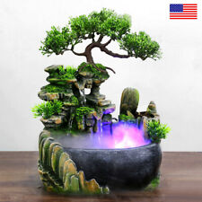 LED Atomizing Tabletop Rockery Fountain Waterfall Humidifier Home Office Decor
