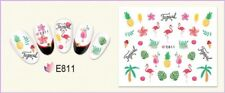 Nail Art Water Decals Transfers Stickers Summer Palm Trees Flamingo Flowers E811