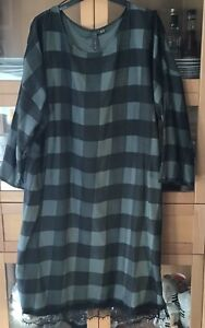 Ladies Size 22 Vintage Style Green Plaid Check Shift Dress With Lace Trim VGC