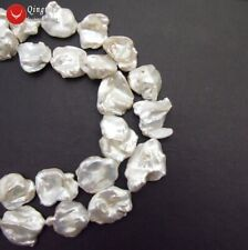Big Natural 15-30mm Baroque White Pearl Loose Beads for Beadwork DIY 14'' los822