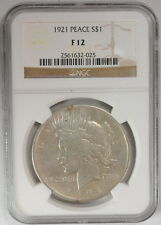 1921 $1 Liberty Peace Dollar US Mint Silver Coin NGC F 12