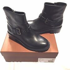 NEW COACH GIANNA BLACK LEATHER ANKLE BOOTS STUDDED 6.5M 6.5