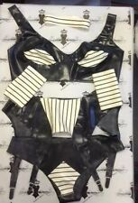 """R1072/1171/72/74 SET ONE ONLY BLK/WHITE LATEX RUBBER LINGERIE 40""""/L  16/18 UK"""