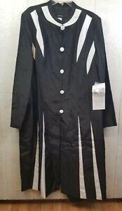 Ashro Womens Black & white 2-Piece Jacket Dress Suit Size 24 Nwt (LL2)