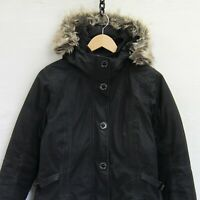 The North Face Hyvent Down Insulated Parka Jacket Womens Small Black Fur Hood