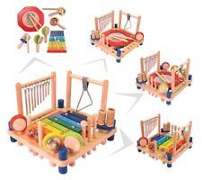 KINDER-MUSIKZENTER mit 10 Instrumenten Rassel Holz Musikcenter Spielcenter NEU