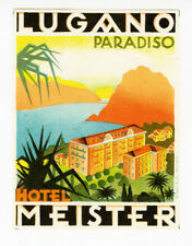 ANCIENNE ÉTIQUETTE VALISE HOTEL MEISTER LUGANO, OLD LUGGAGE LABEL