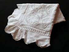 Vintage French Bed Coverlet Hand Knit with Star Pattern and Lacy Border