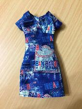 Barbie Doll Clothes Fashion Avenue Urban Navy Denim Jean Print Dress