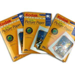 "Lot of 3 Kodak Premium High Gloss Picture Paper, 25 4"" x 6"" Sheets Each NEW"