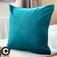 """Luxury TWO PACK Velvet Piped Teal Blue Green Cushion Covers 43x43cm (17"""") Soft"""
