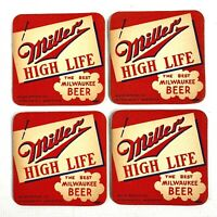1940s MILLER HIGH LIFE BEER vintage set of four COASTERS Milwaukee, Wisconsin
