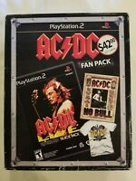 ROCKBAND AC/DC FAN PACK WITH NEW GAME FOR PS 2, NO BULL DVD & TEE SHIRT~