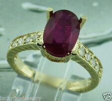 3.01 ct 14k Solid Yellow Gold Ladies Natural Oval Ruby & Diamond Ring made USA